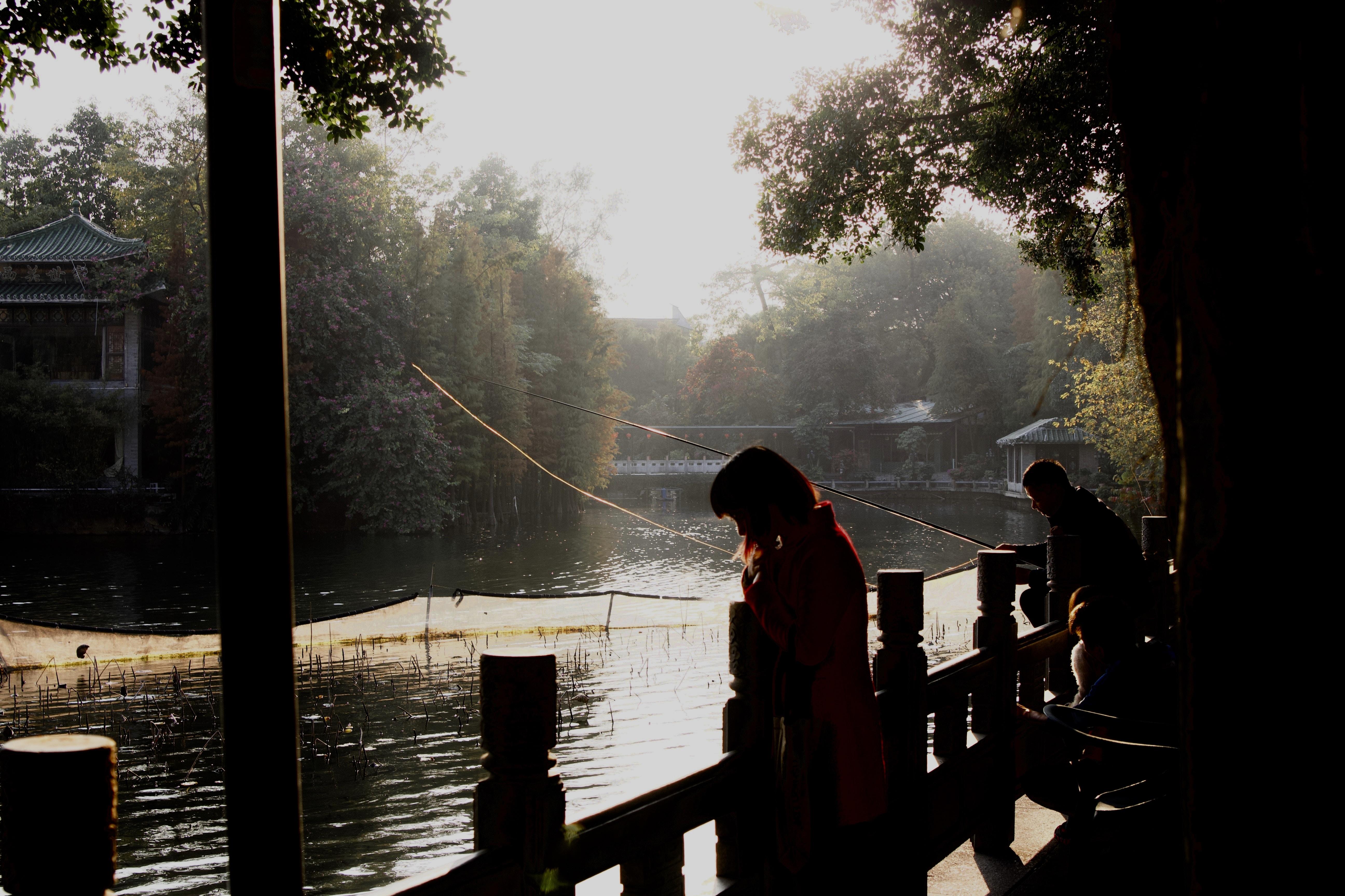 woman standing beside fence near lake under golden hour