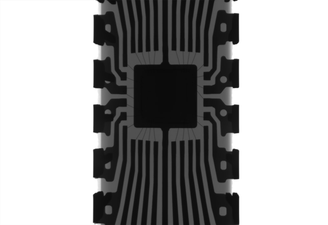 Xray of an arduino chip with the bonding wires shown.