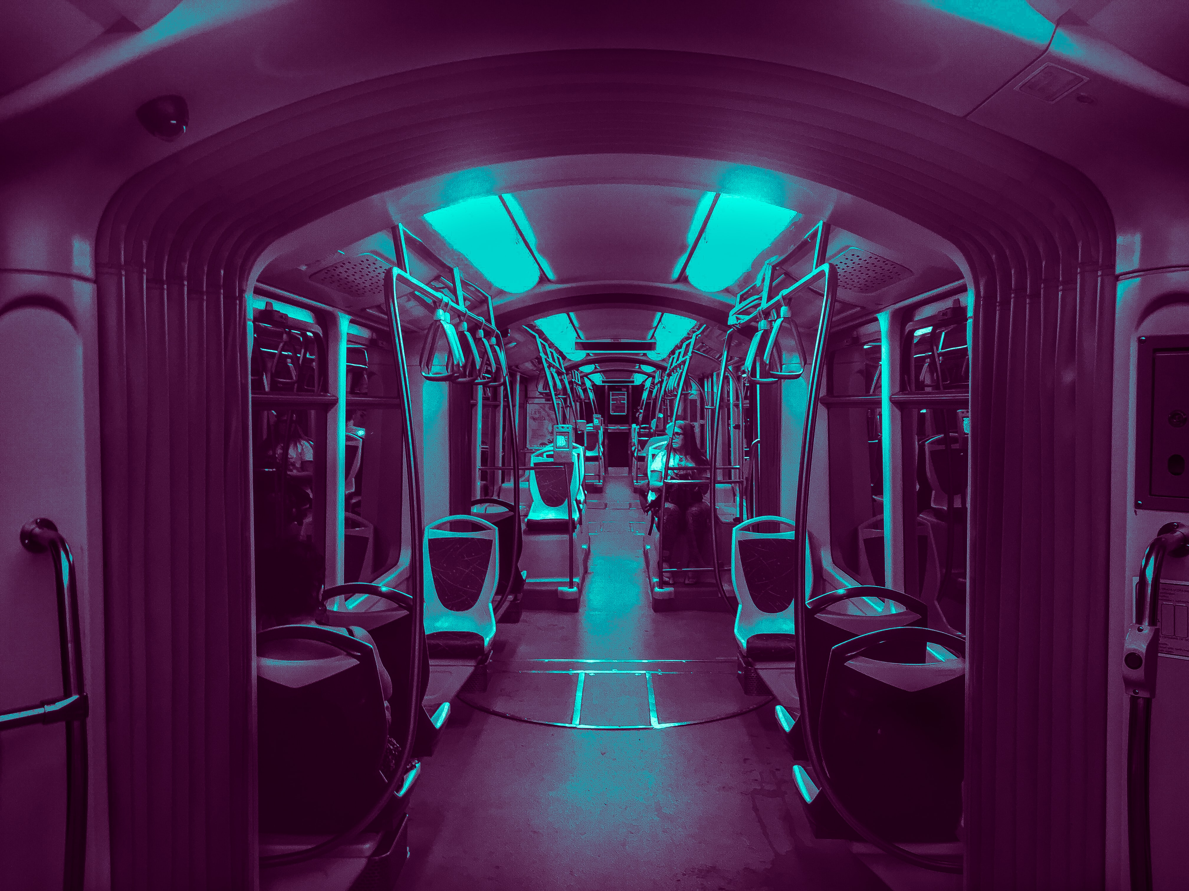interior photo of train with lights