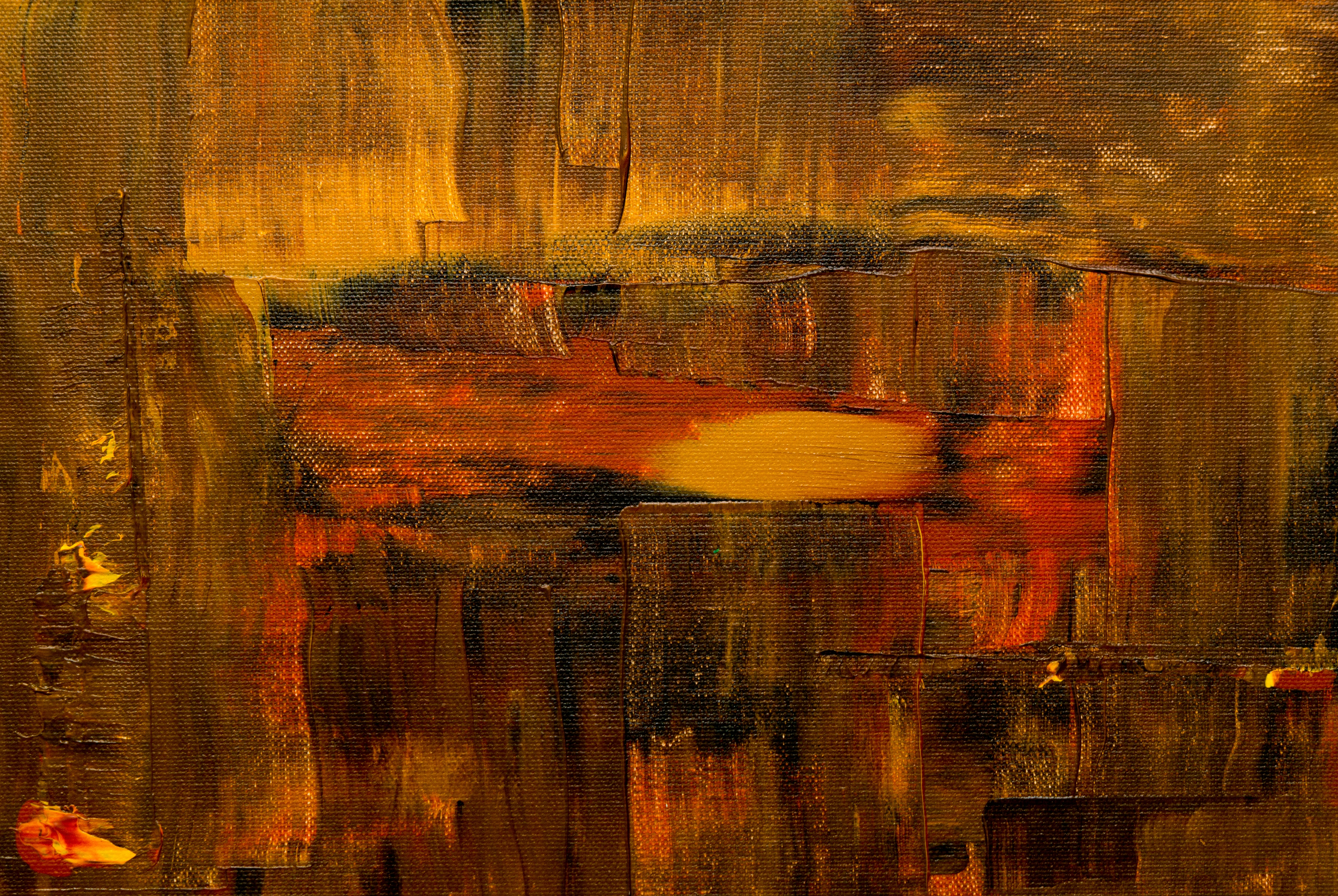 close-up of brown and red abstract painting
