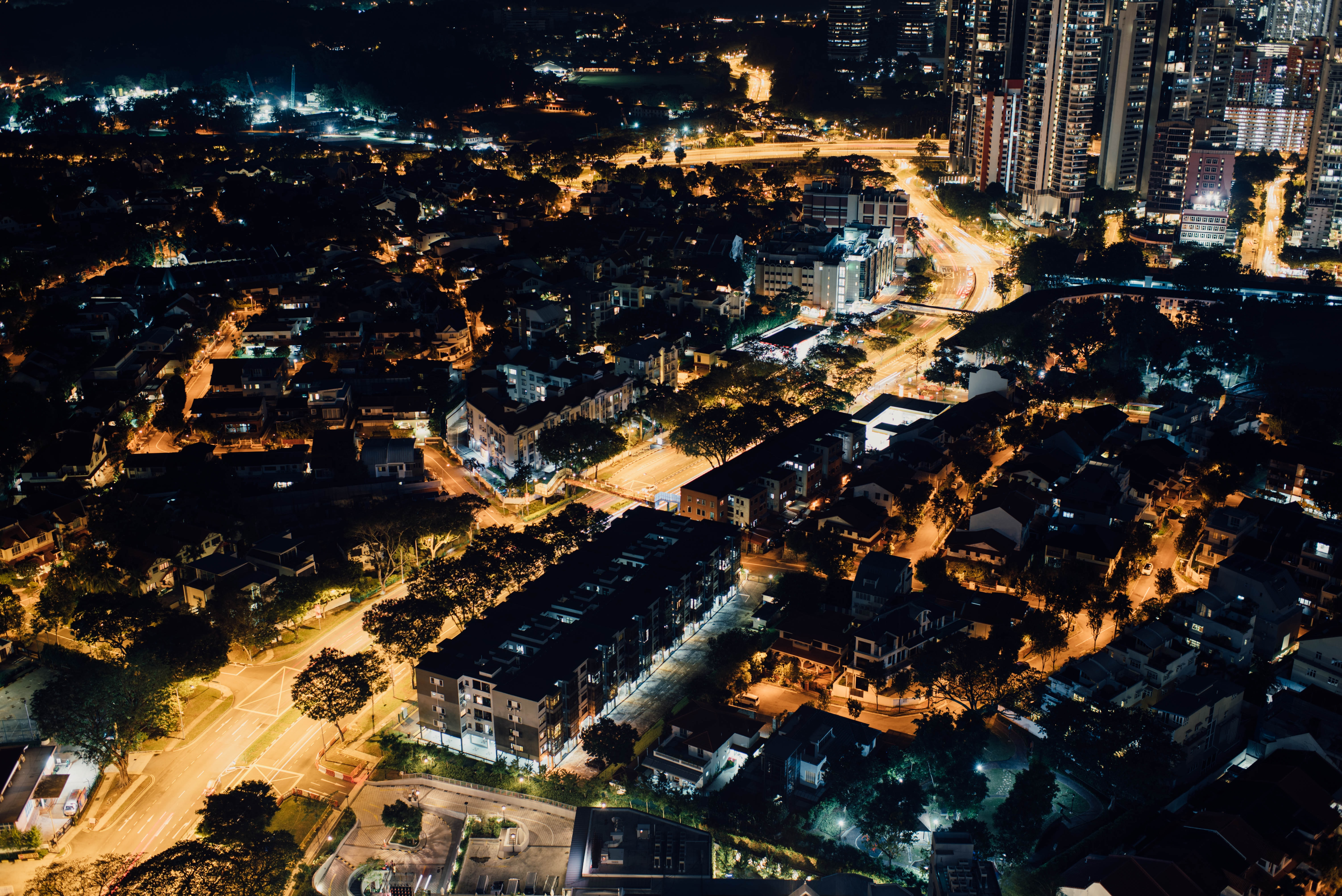 bird's-eye view photography of city buildings during nighttime