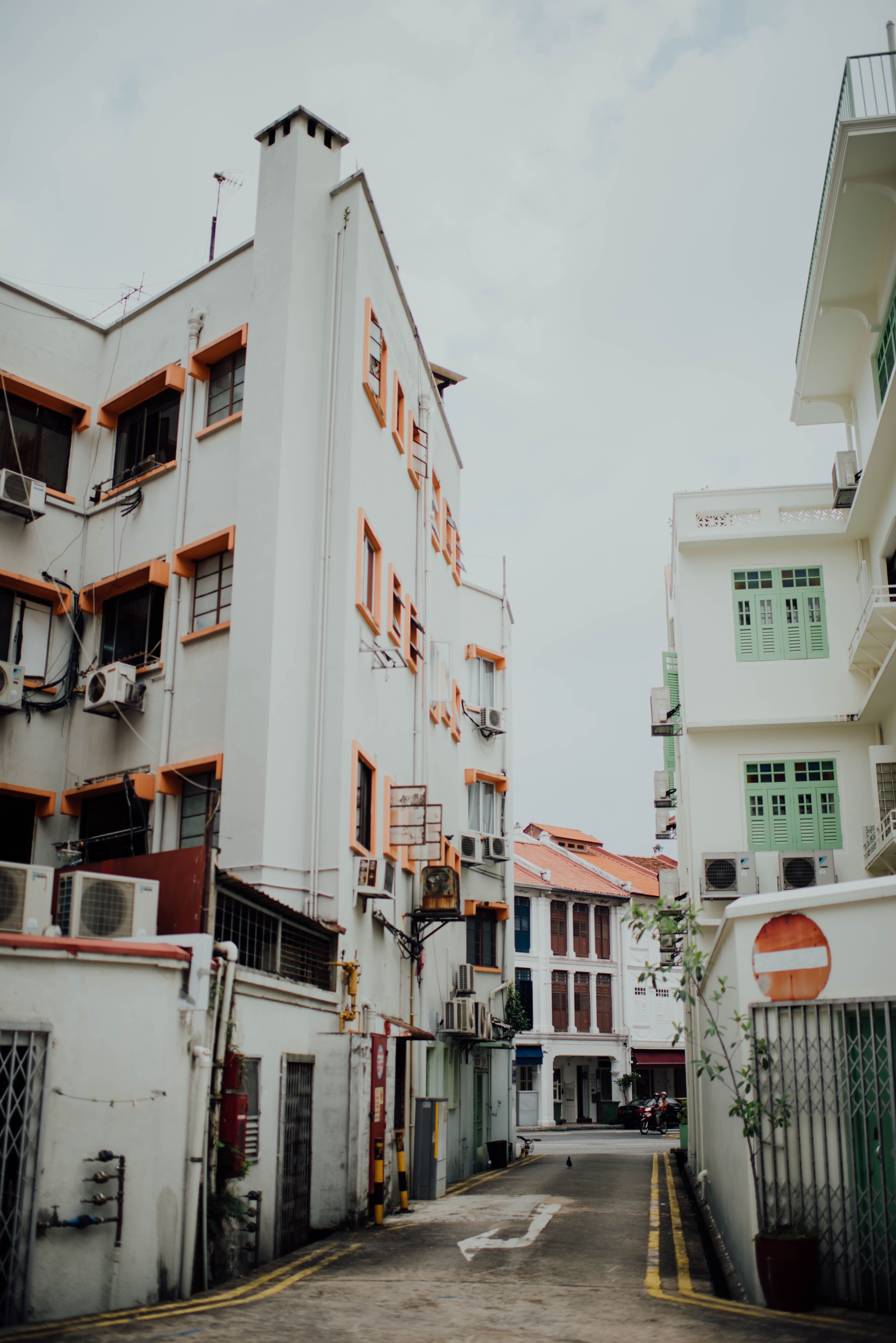 structural photography of white building