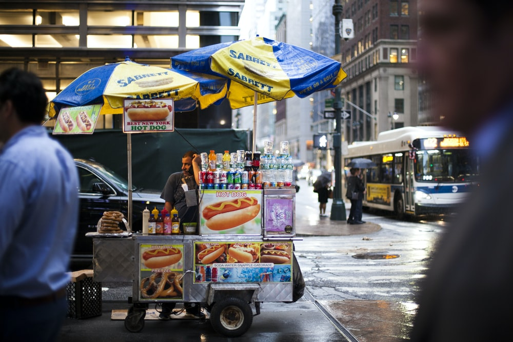 hotdog vendor in intersection
