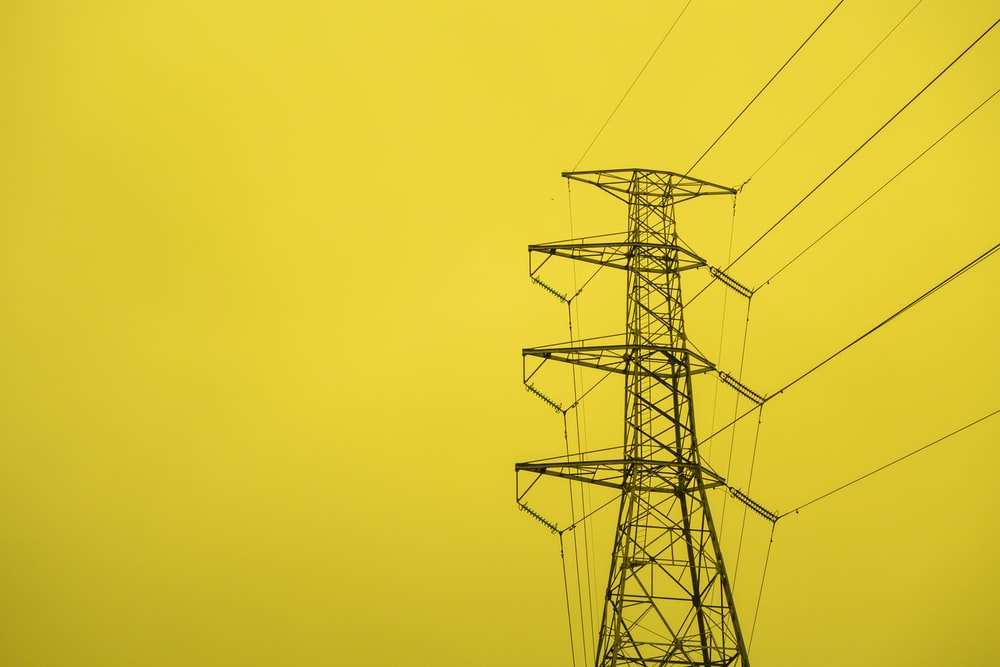 black transmission tower