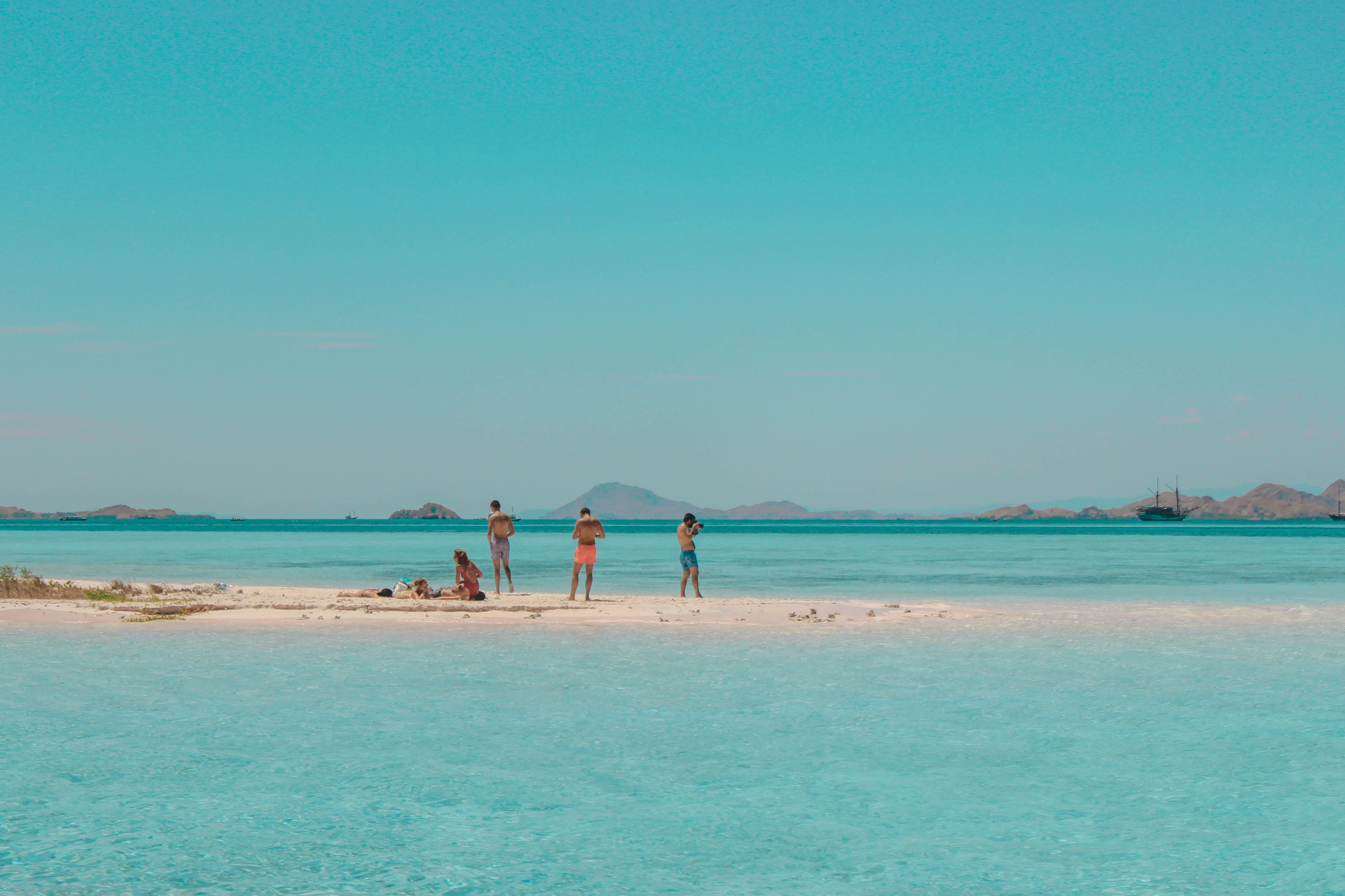 four persons standing on seashore during daytime