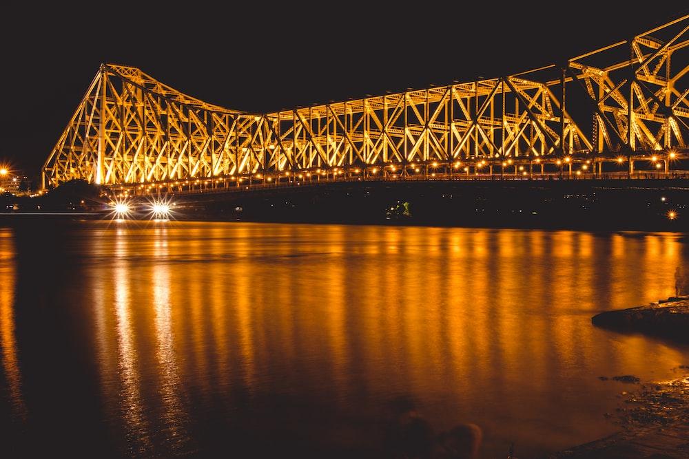 lightened bridge at night