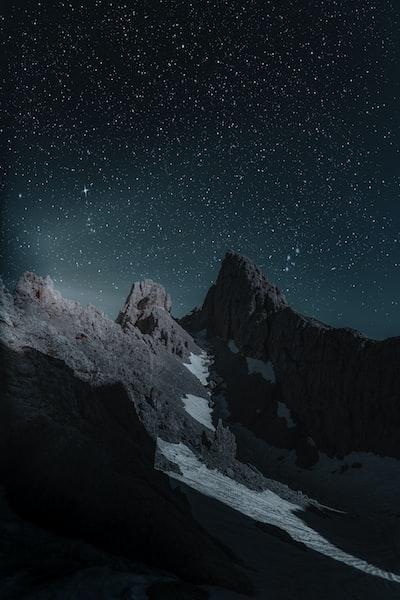 brown mountain at nighttime
