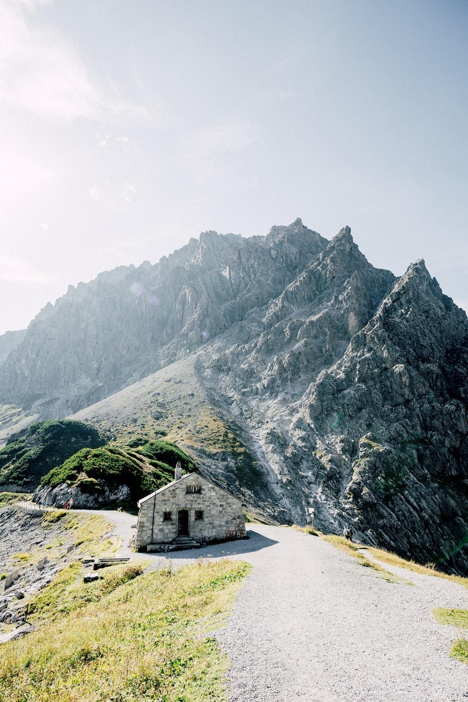 gray house near mountain