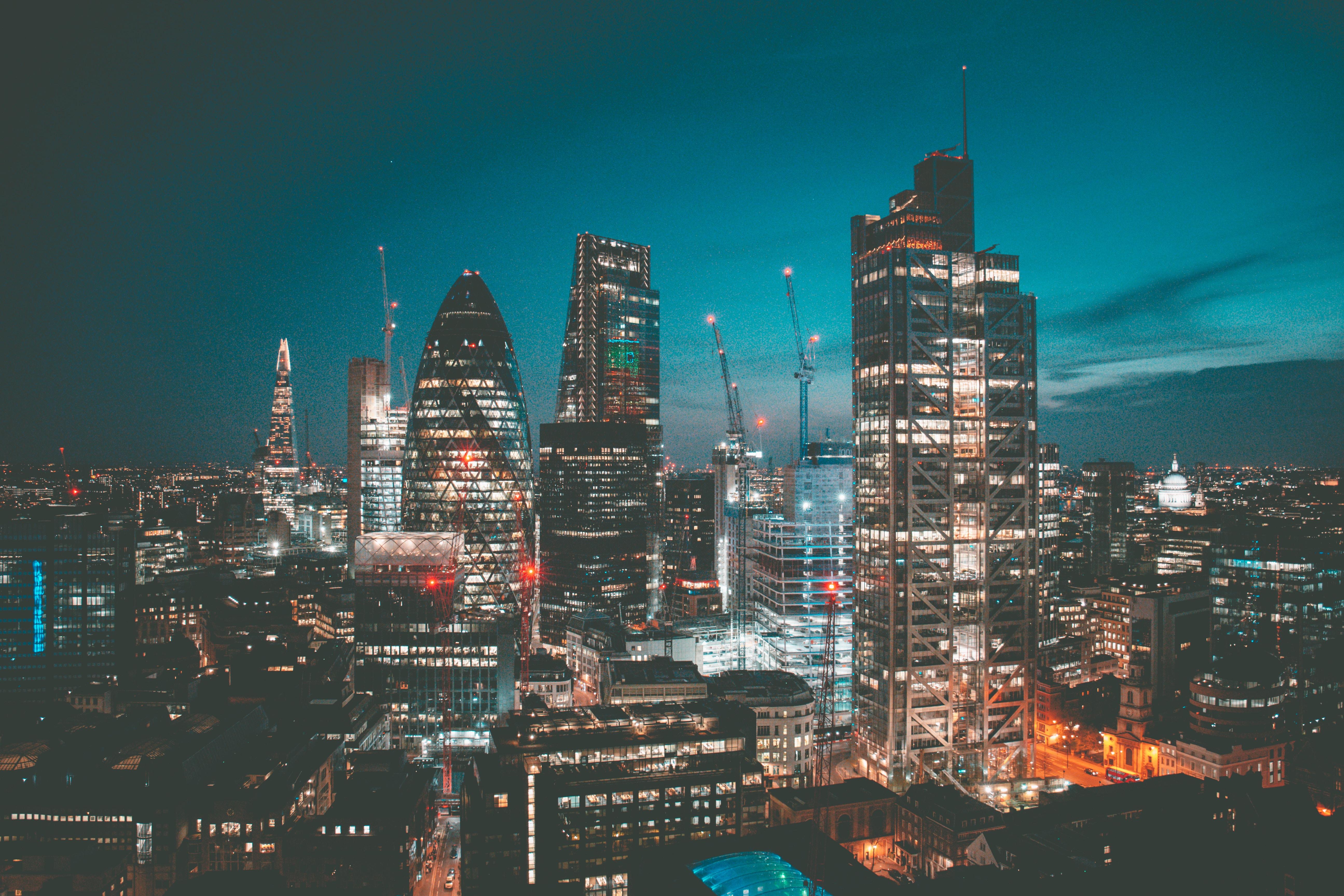 high-angle photo of city skyline