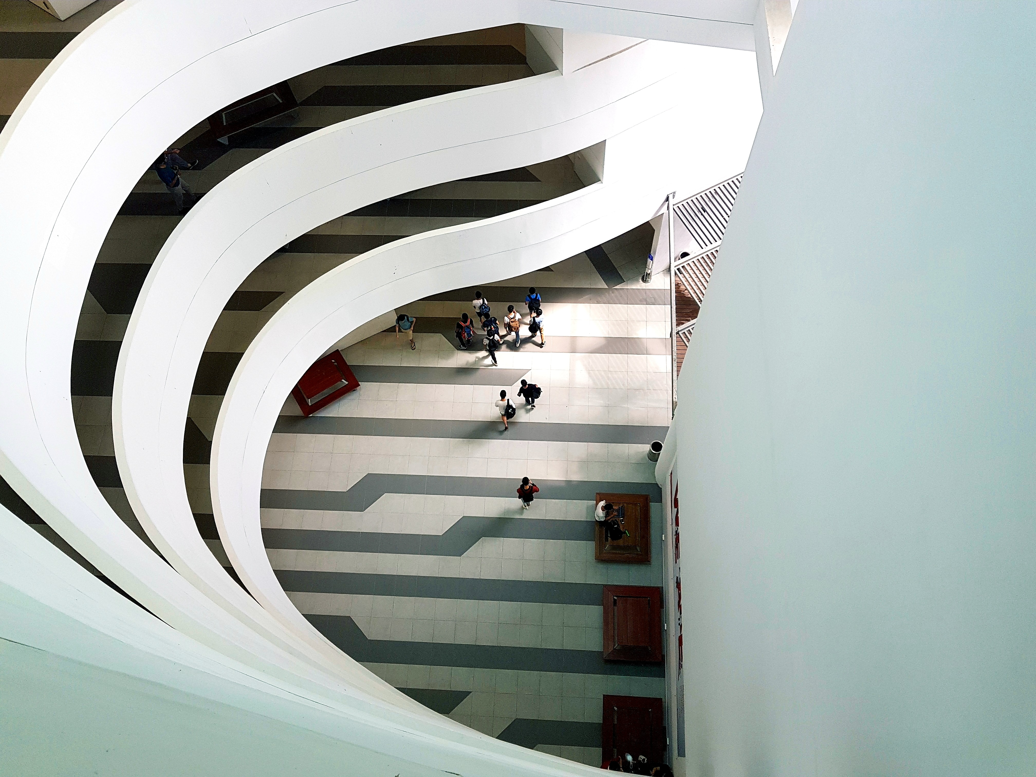 high-angle photography of white building interior