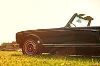 black Mercedes-Benz convertible car parked on grass field