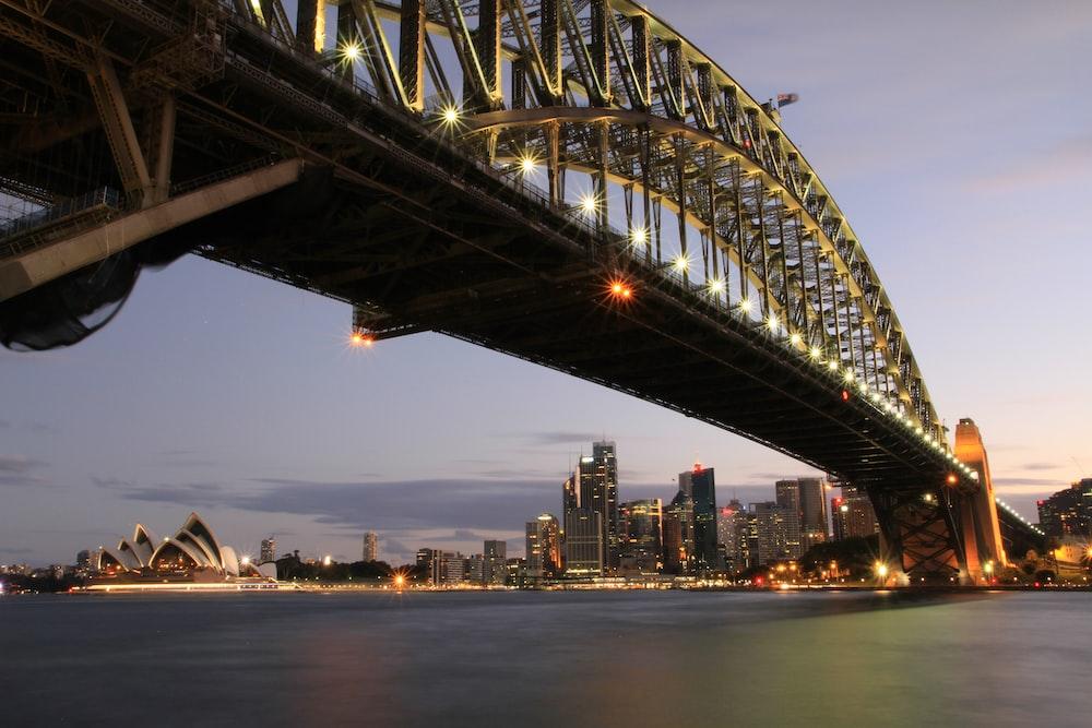 low-angle photo of suspension bridge