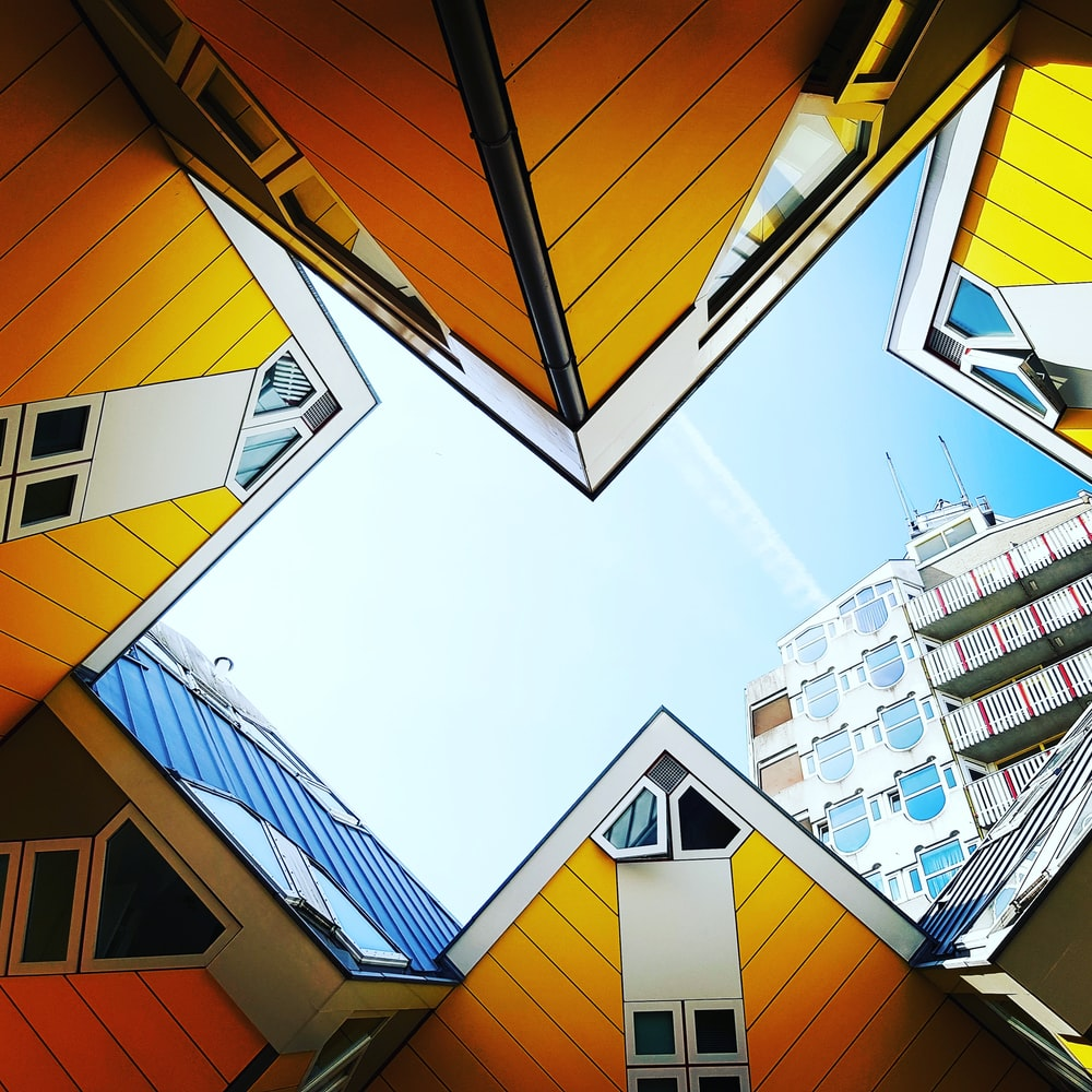 orange and blue buildings illustration