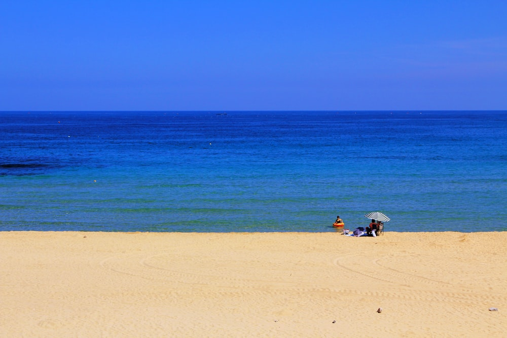 person on beige seashore near blue ocean under clear blue sky at daytime