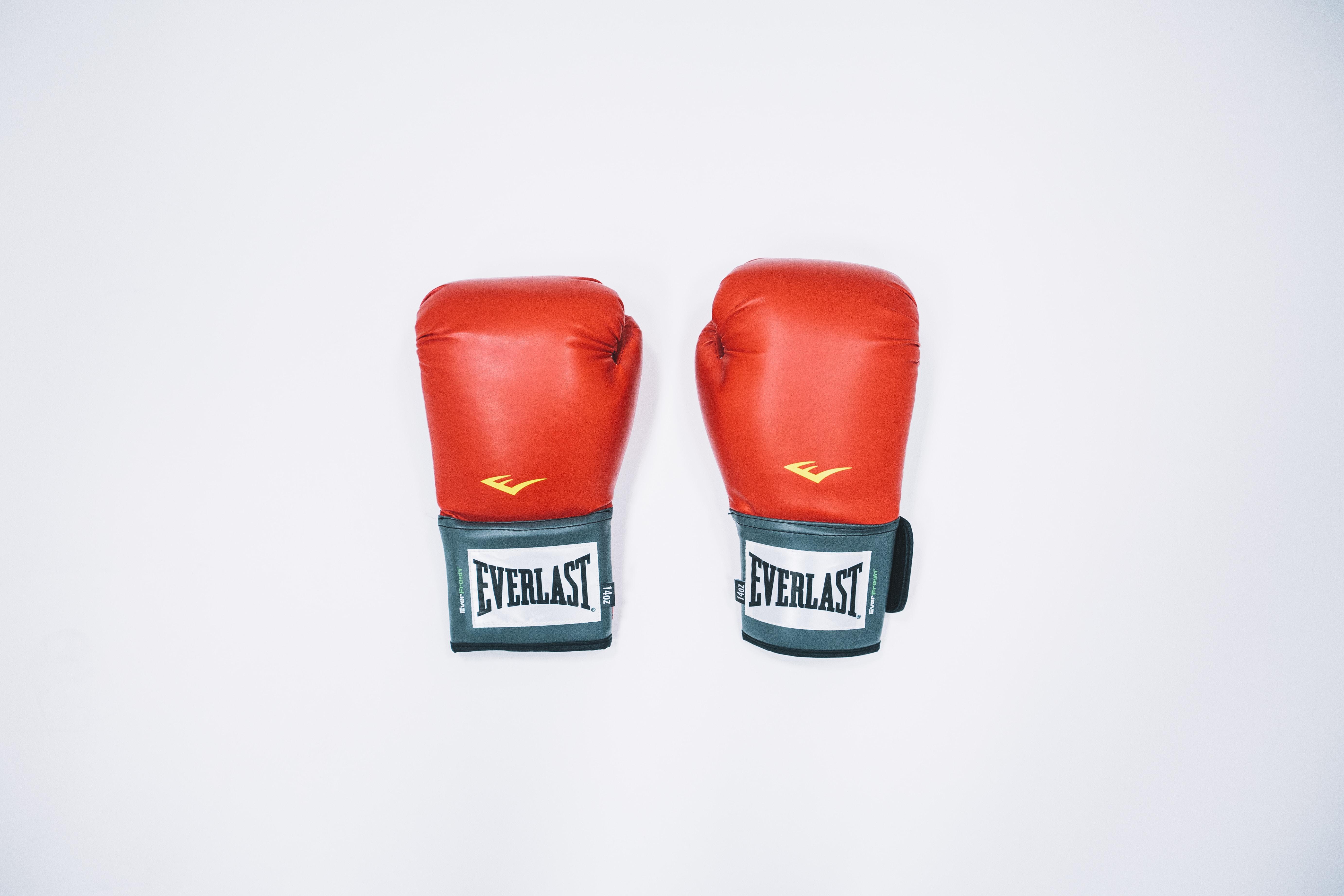 pair of red Everlast training gloves against white background