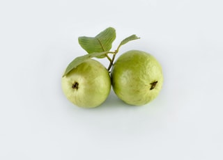 two guava fruits with white background