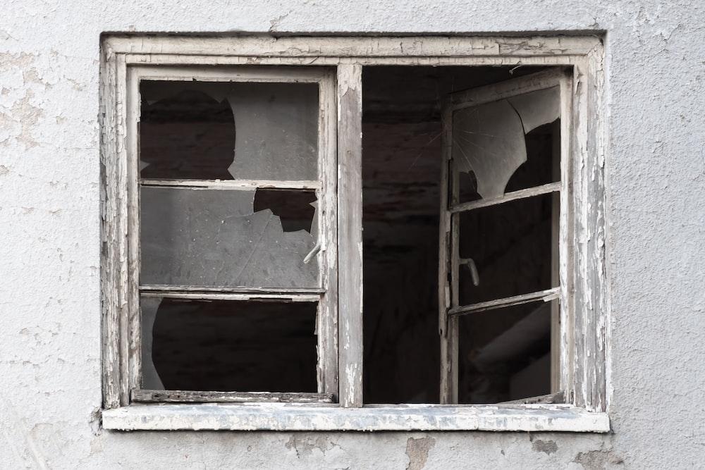 brown wooden open window