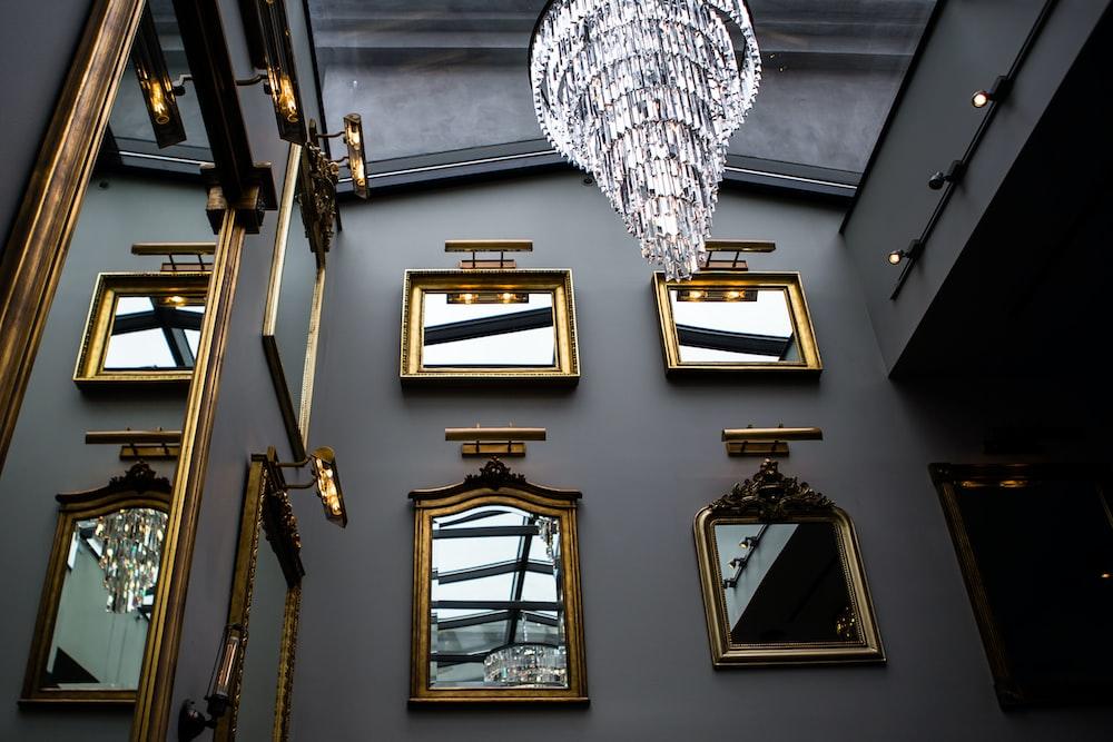 turned-on crystal chandelier