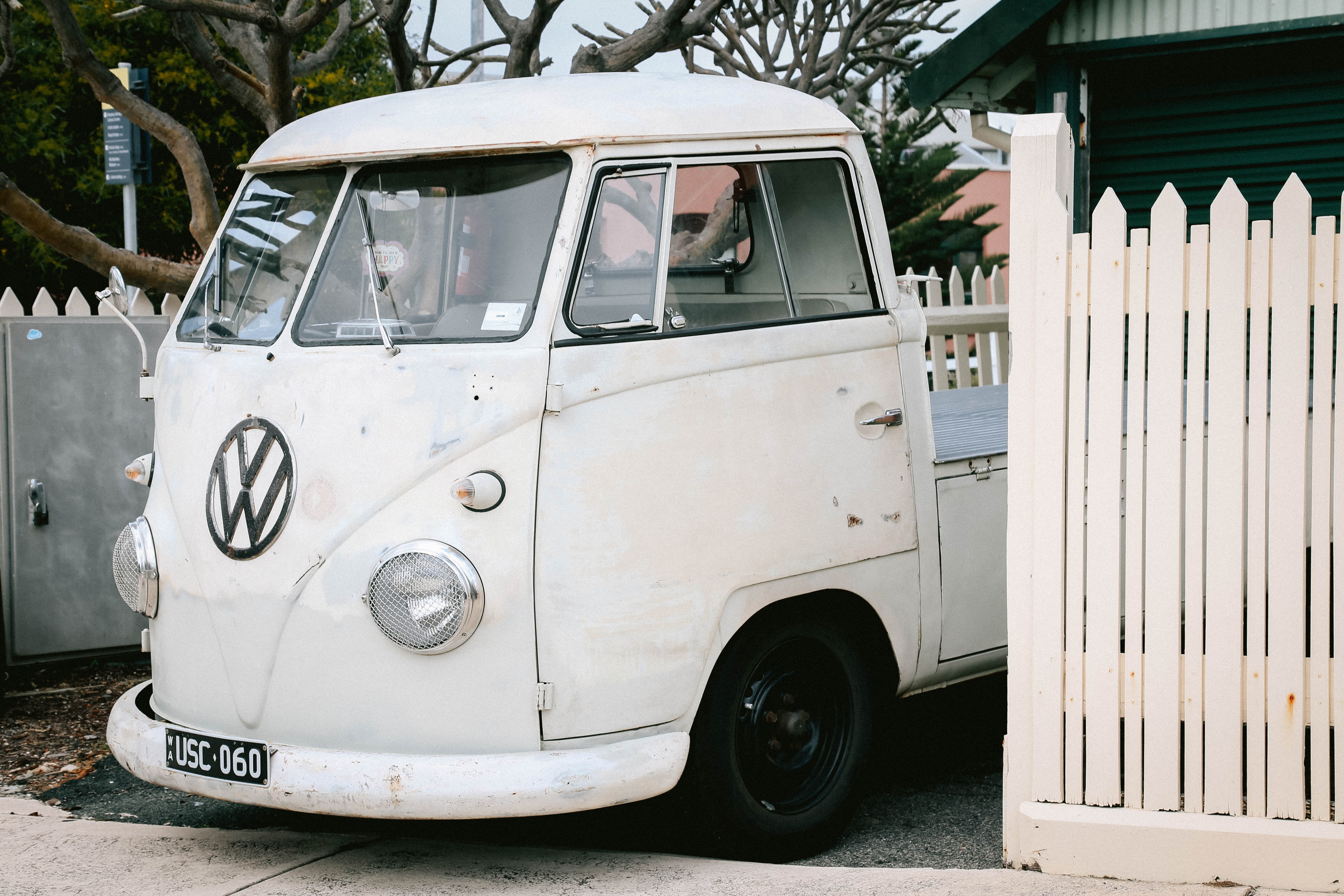 white Volkswagen vehicle