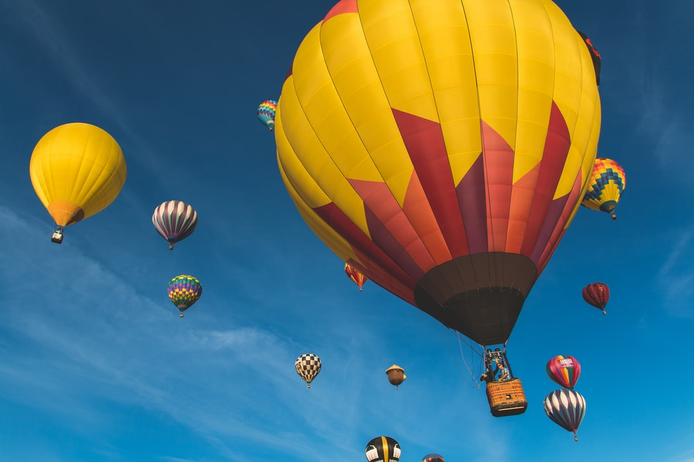 low angle photography of hot air balloons