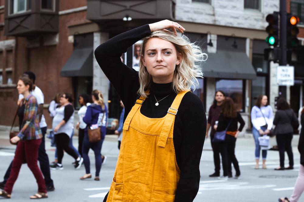 women's yellow overall