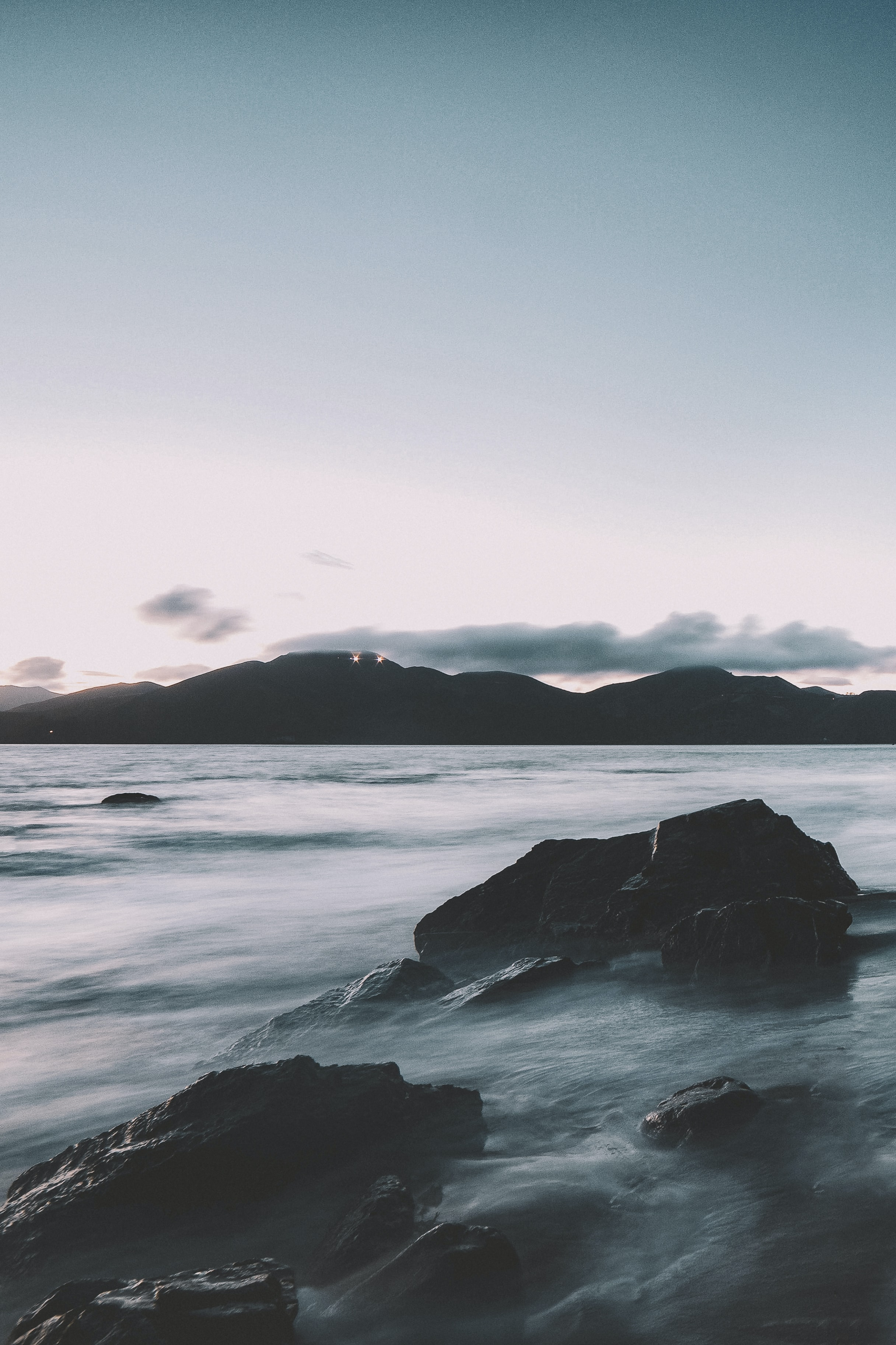 mountain and sea time-lapse photography