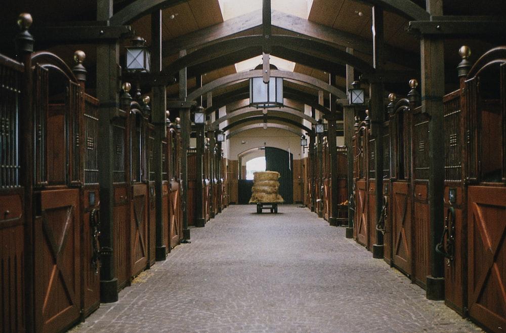 sacks inside horse stable