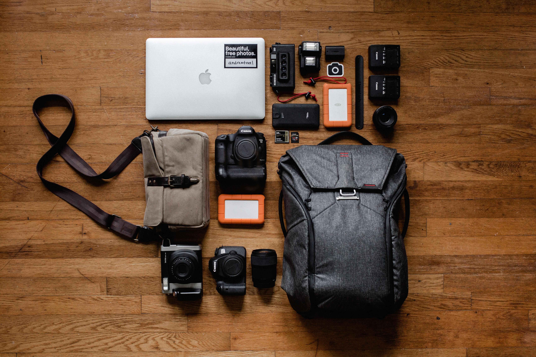 black DSLR cameras and lenses