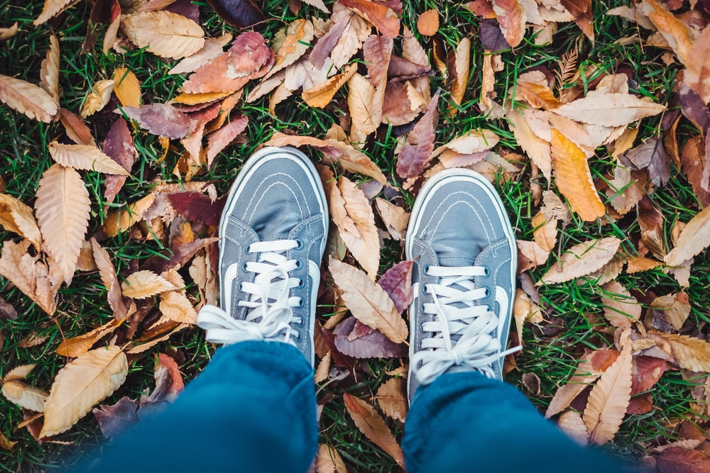 person standing on dried leaves outdoors