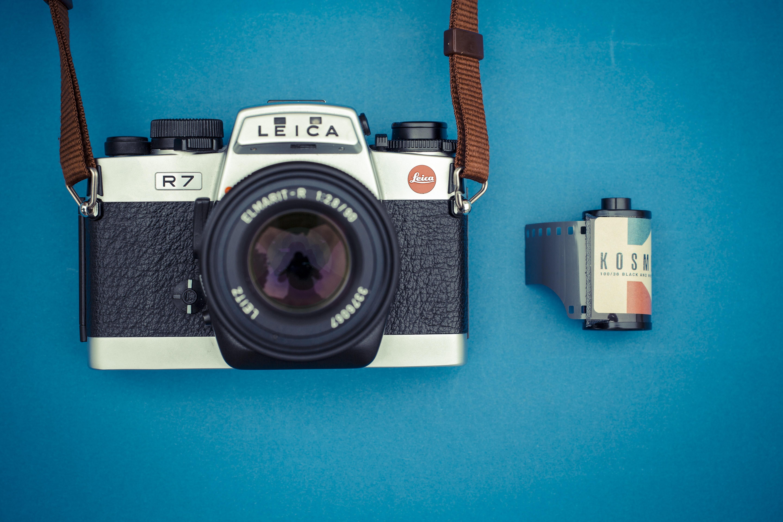 silver and black Leica DSLR camera