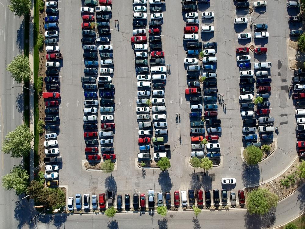 bird's-eye view photography of car park