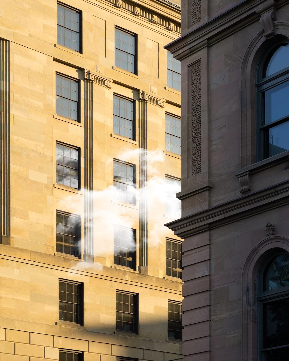 smoke coming from between buildings