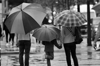 grayscale photography of three person's holding umbrella