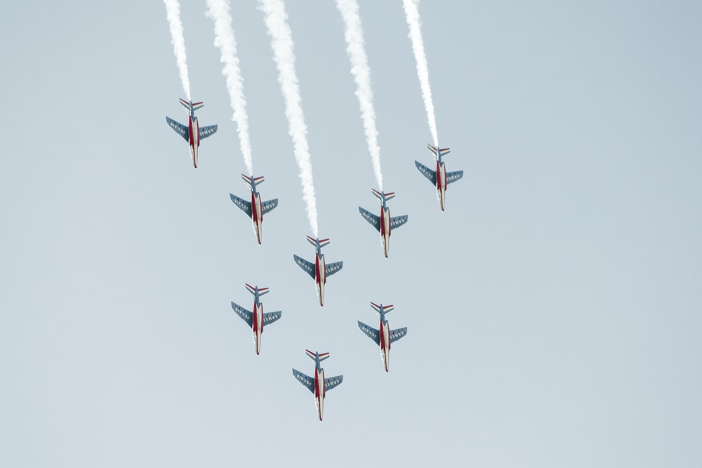 eight fighter jets in the air during daytime