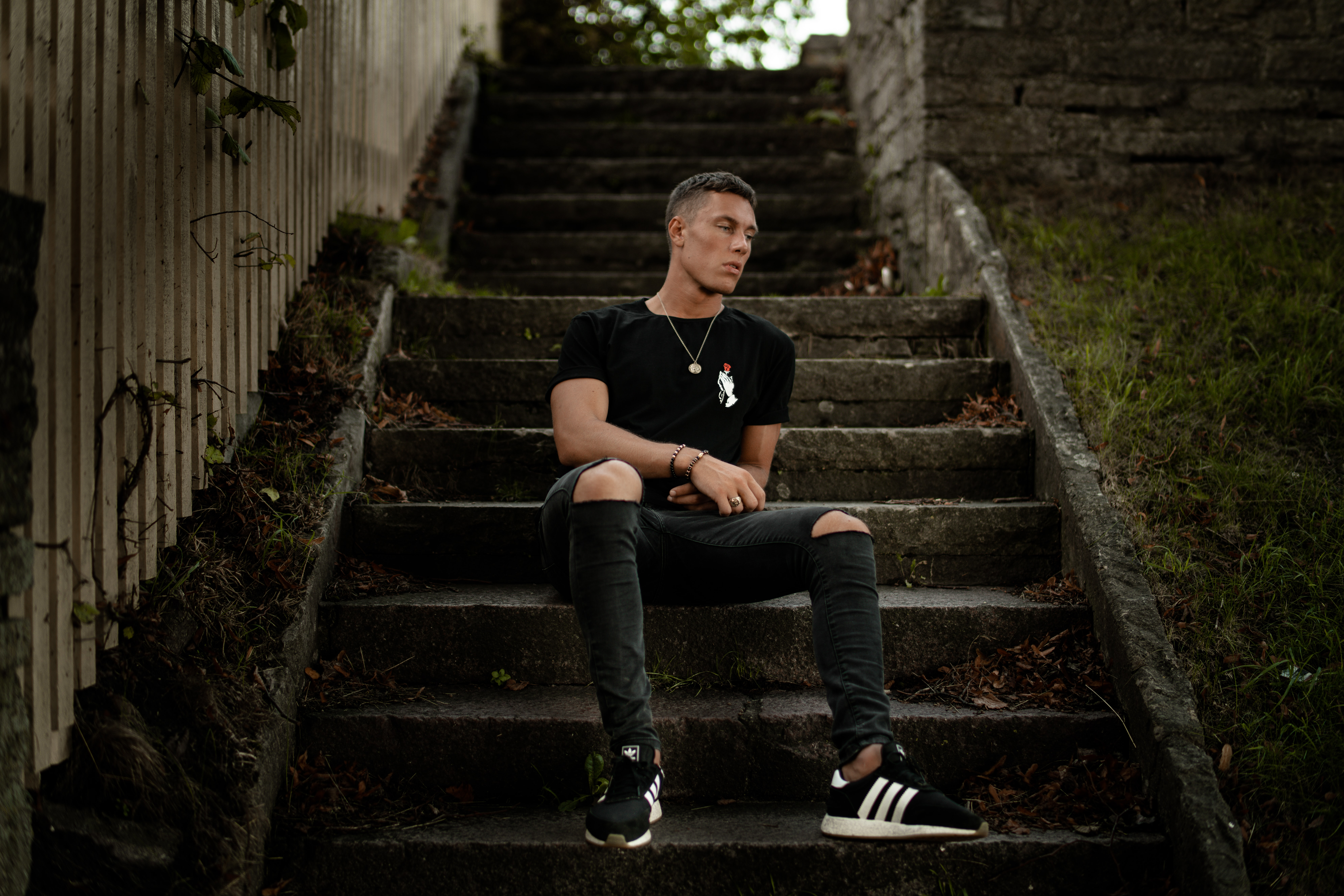 man sitting on the stair