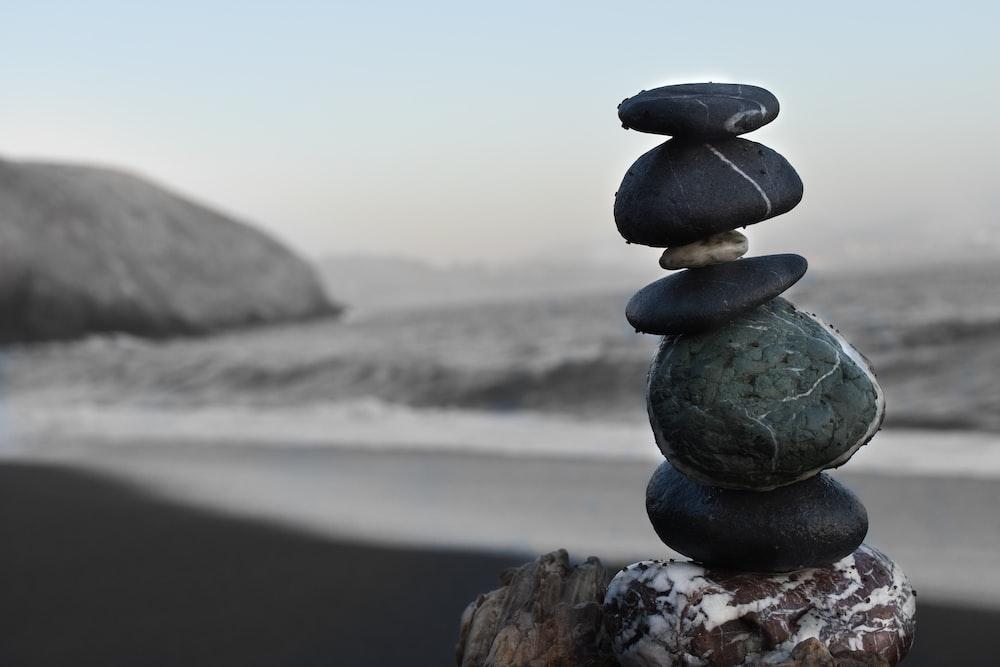 five black rocks