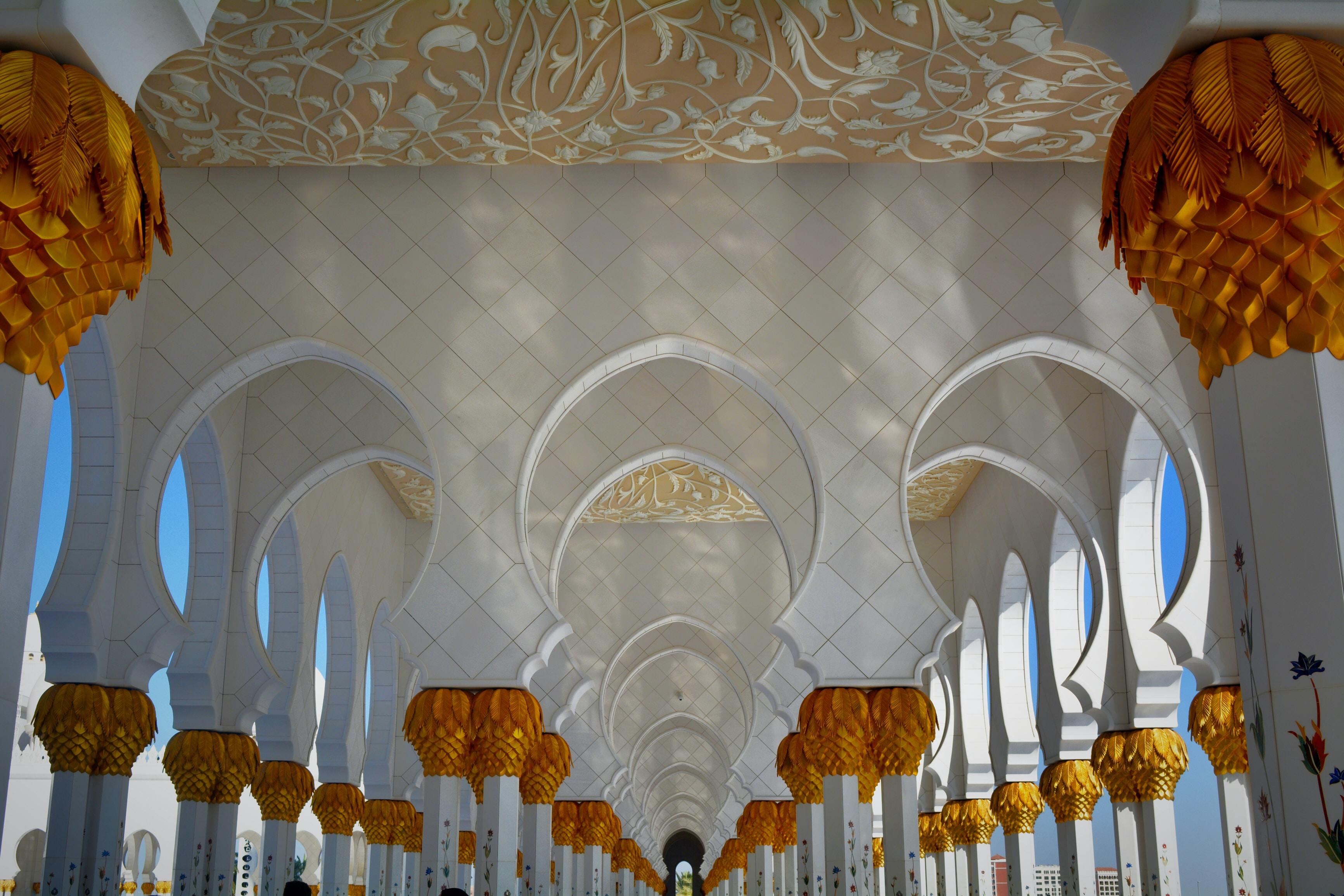 white and orange dome building interior