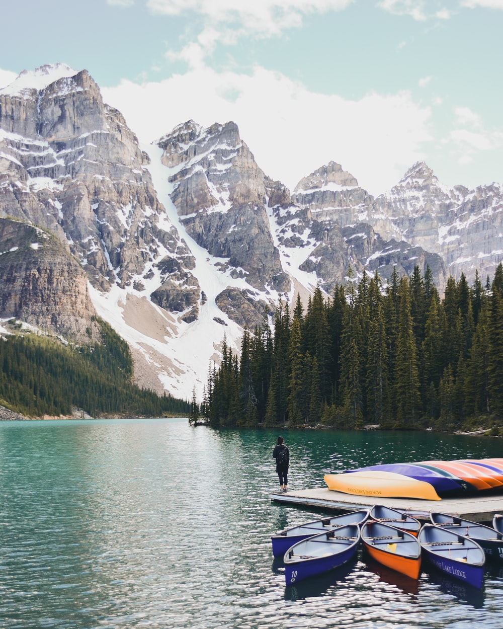 man standing on edge of boat on Banff National Park