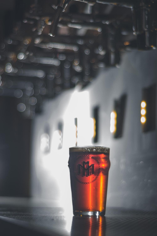 clear beer mug with beer