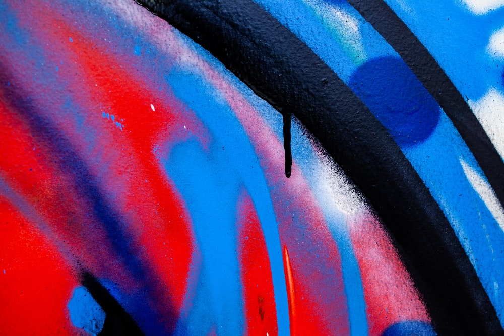 blue, red, and black paint