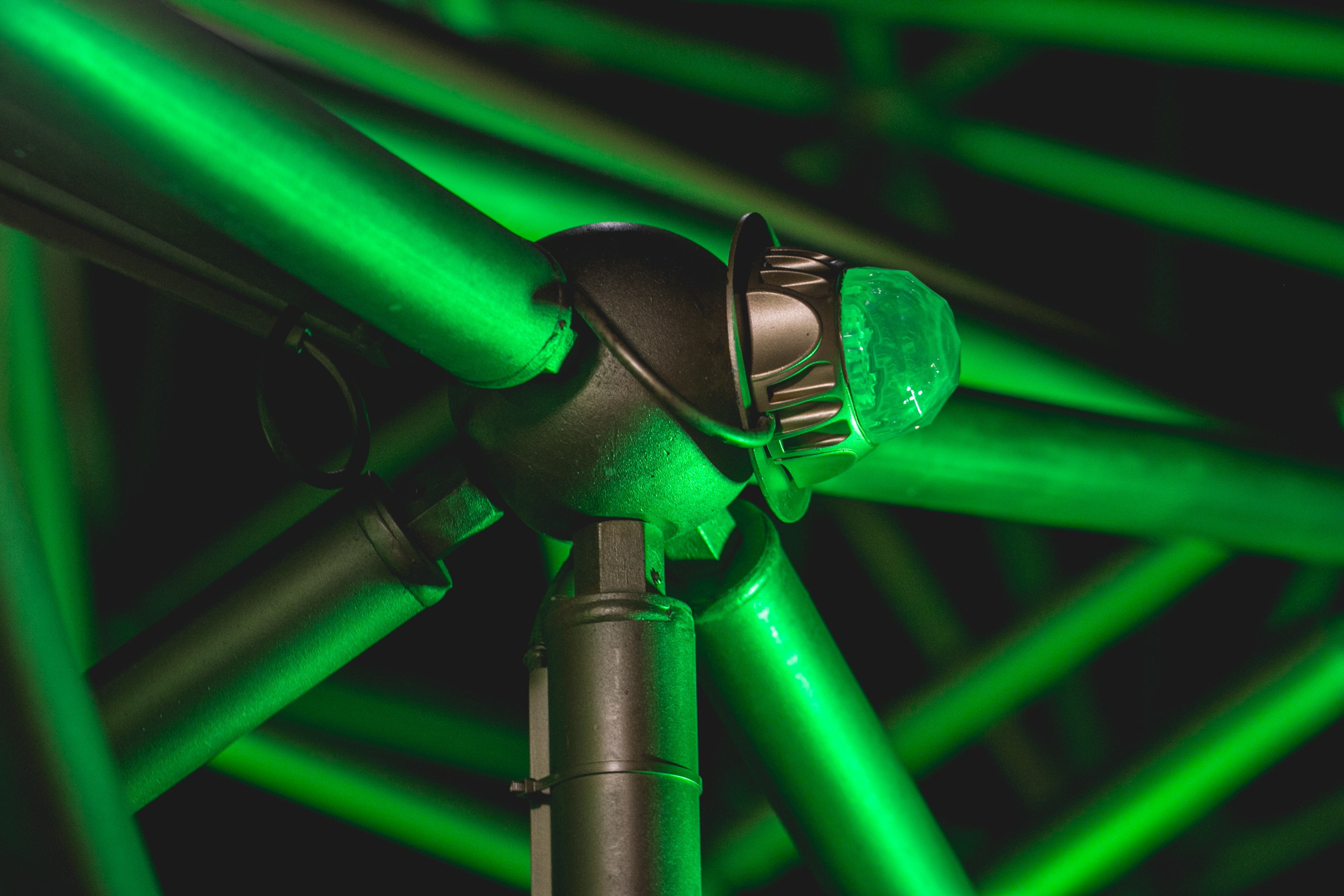 green and black steel bars