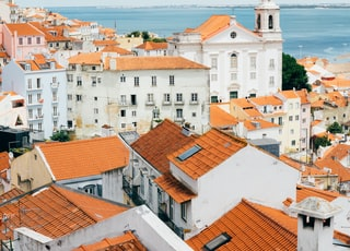 landscape photography of orange roof houses near body of water