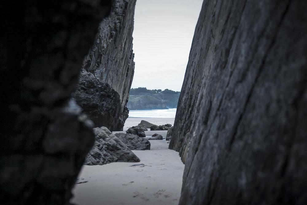 gray rock mountain near sea