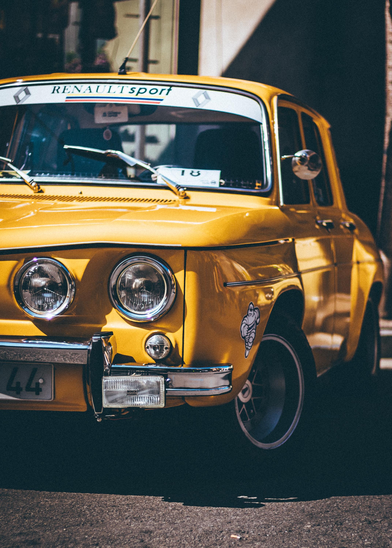 yellow sedan