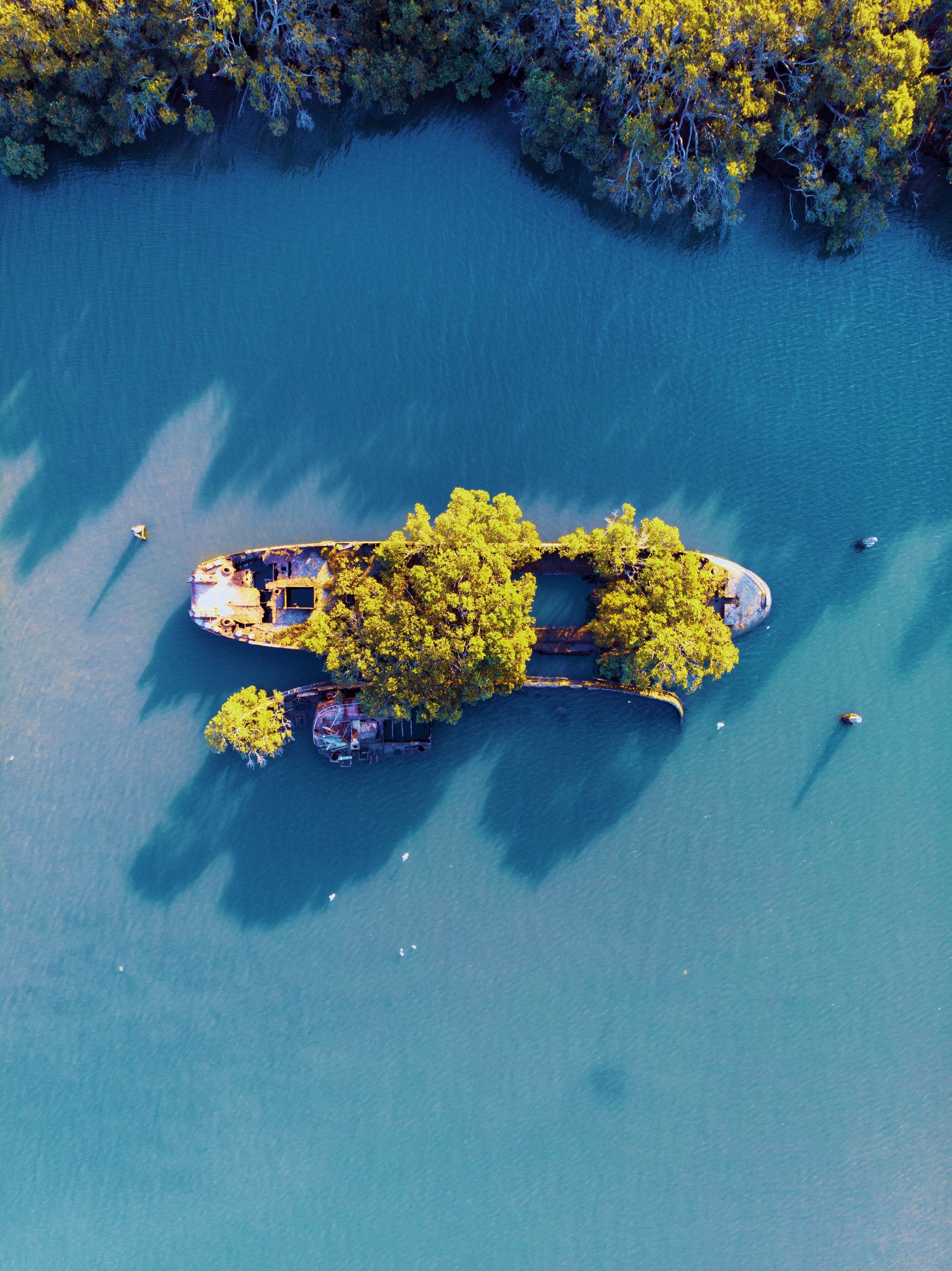 bird's eye-view photography of islet