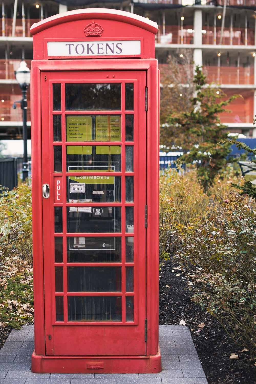 red Tokens telephone booth