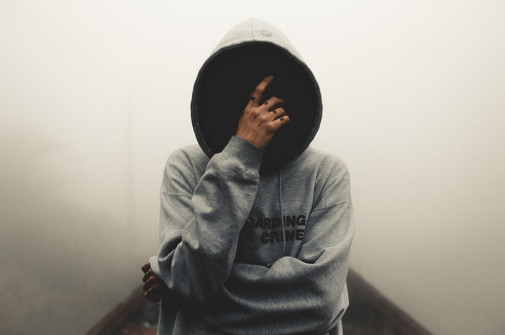 gray and black pullover hoodie