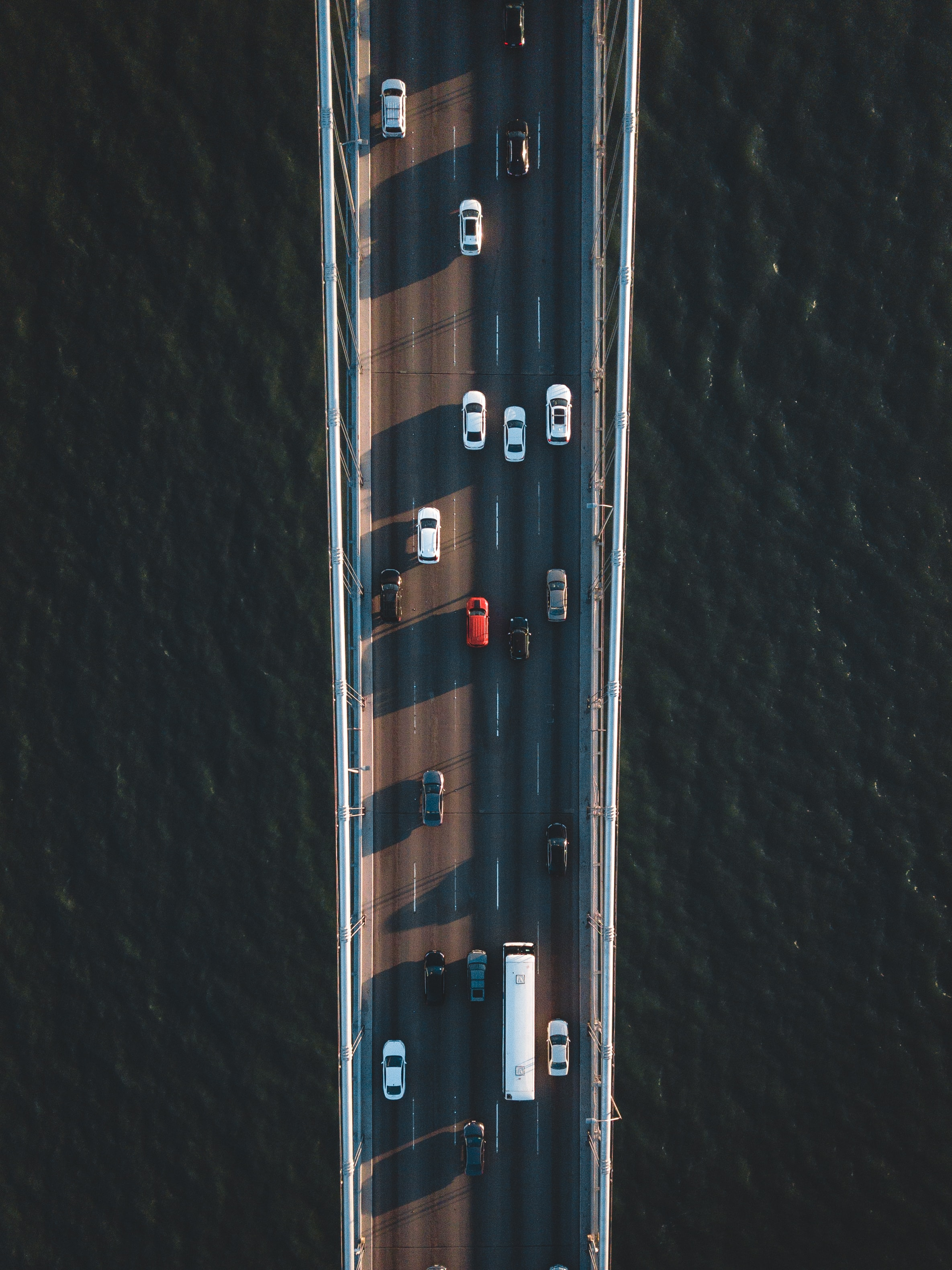 aerial photography of vehicles on road