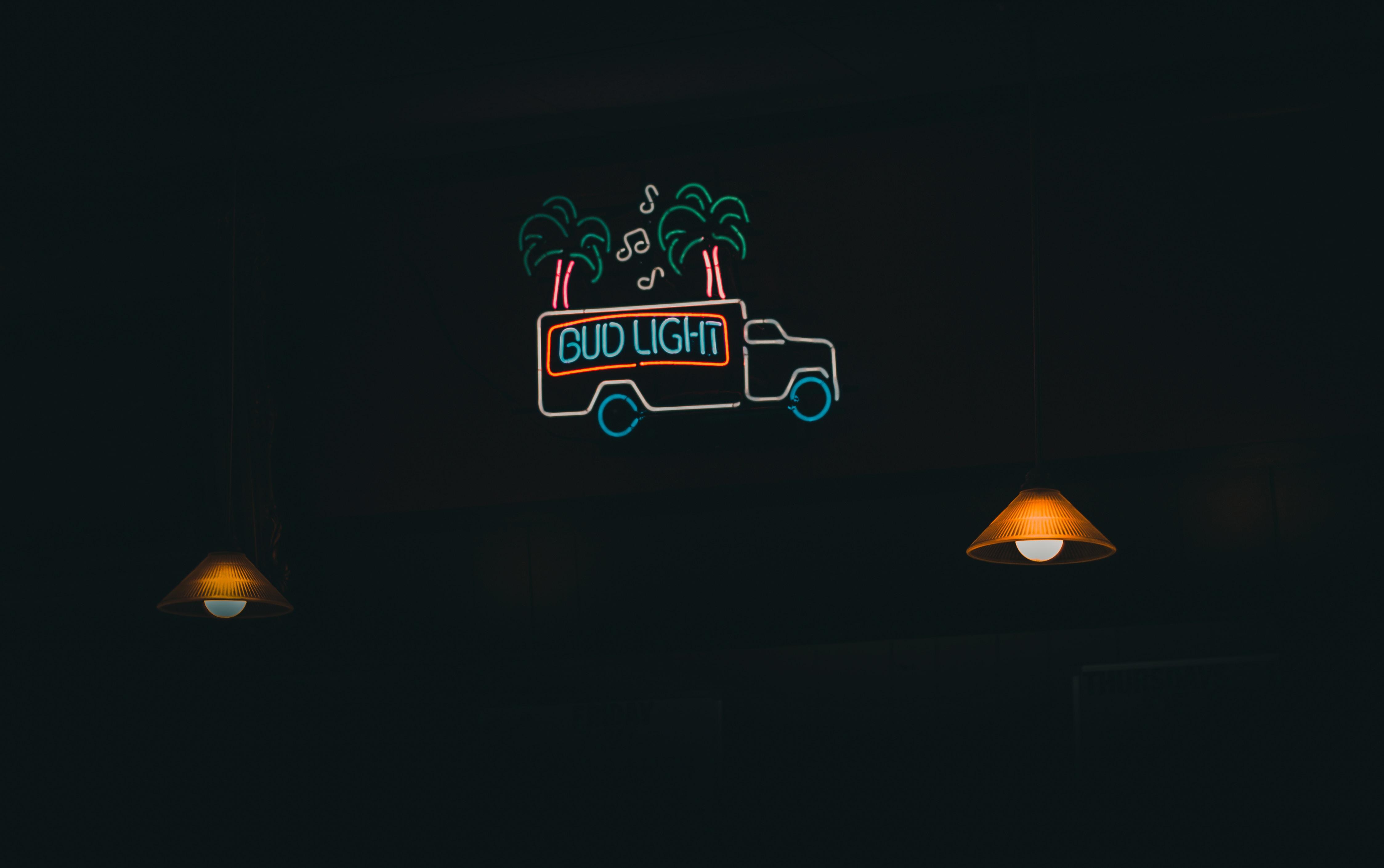 Bud Light neon signage turned-on