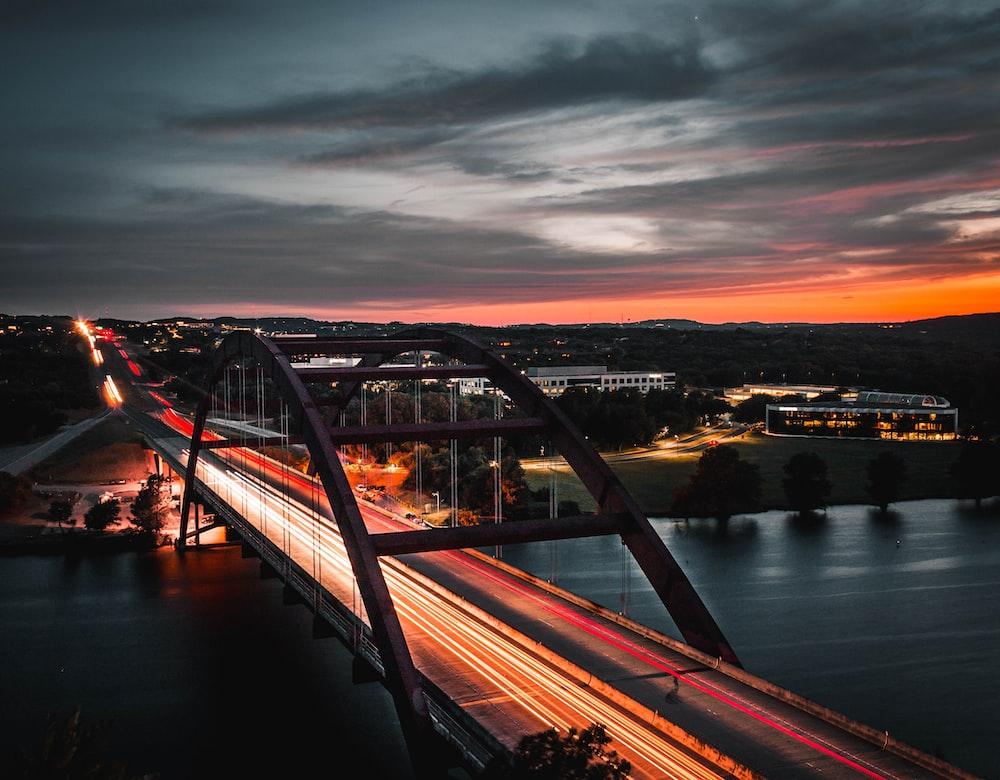 timelapse photo of bridge